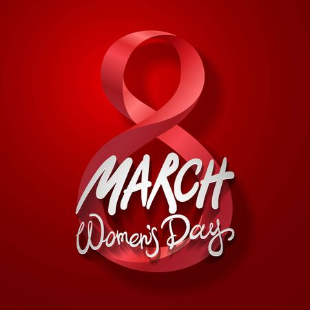 March 8 greeting card. International Womans Day. vector. red background art