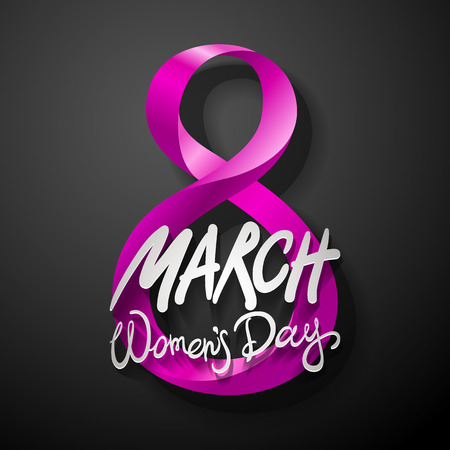 pink March 8 greeting card. International Womans Day. vector. black background art Illustration