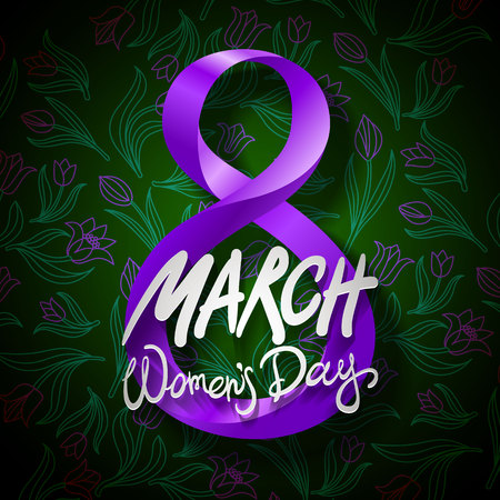 March 8 greeting card. International Womans Day. vector. black background art Illustration