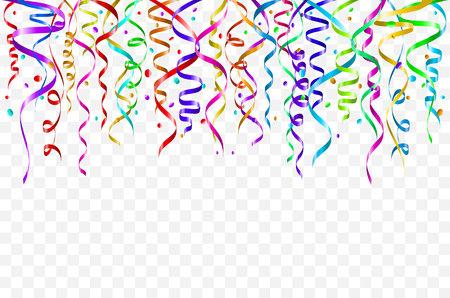 Szablon tło uroczystość z konfetti i kolorowymi wstążkami. Sztuka ilustracji wektorowych Ilustracje wektorowe