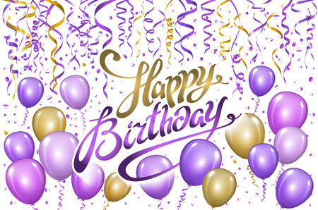 violet gold balloons happy birthday background. vector art  イラスト・ベクター素材