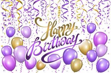 violet gold balloons happy birthday background. vector art Stock Illustratie