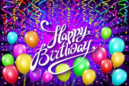 Globos feliz cumpleaños. el globo colorido chispea el fondo de la violeta del día de fiesta. Felicidad Día de nacimiento a usted logo, tarjeta, bandera, tela, diseño. art
