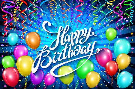 Ballons joyeux anniversaire. le ballon coloré étincelle le fond bleu de vacances. Happiness Birth day to you logo, carte, bannière, web, design. art
