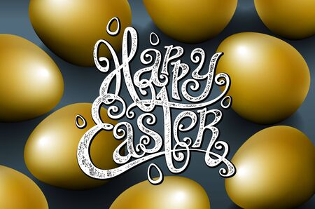 golden egg: Card for congratulations phrase. Greeting card text templates with gold eggs beautiful background for the invitation. Happy easter lettering modern calligraphy style. vector art Illustration