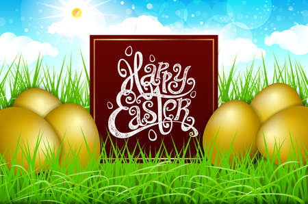 Golden gpld eggs in a field of grass with blue sky. happy easter lettering modern calligraphy, vector art Illustration