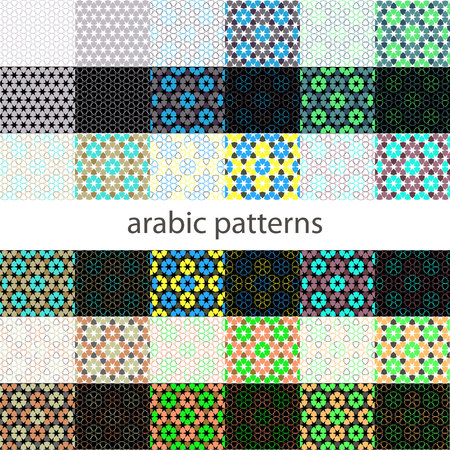alhambra: Seamless patterns Set in Moroccan style. Mosaic tile. Islamic traditional ornament. Geometric background. Vector illustration. Illustration