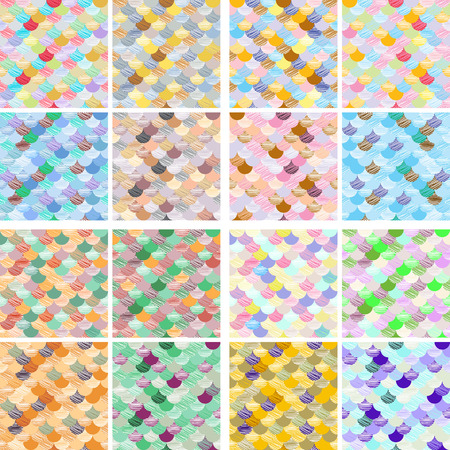 Set of geometric Abstract colorfull wave seamless pattern. the fabric. Scales vector background art Illustration