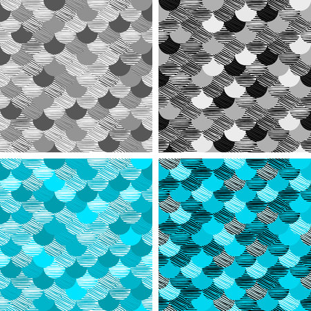Abstract colorfull wave seamless pattern. the fabric. Scales vector blue. black and white. grey art Illustration