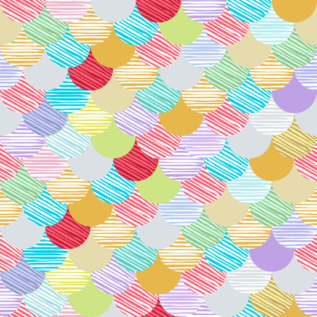 Abstract colorfull wave seamless pattern. the fabric. Scales vector art