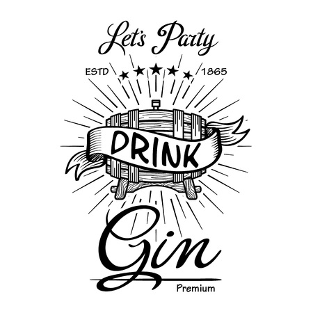 Gin label vintage hand drawn border typography blackboard vector. Alcohol. Wooden barrels drinks signs. Typographic badges with sketched kegs. Used for restaurant, cafe, bar menu. retro art