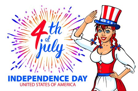 national women of color day: illustration of a girl celebrating Independence Day Vector Poster. 4th of July Lettering.