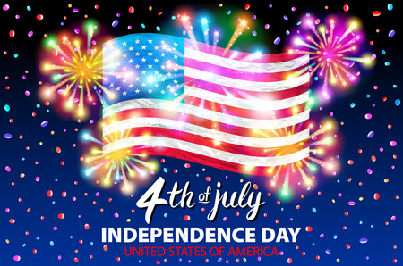 illustration of a celebrating Independence Day Vector Poster. 4th of July Lettering.