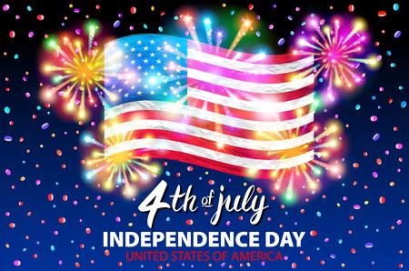 Ilustración de un cartel del vector del Día de la Independencia celebrando. 4 de julio letras.