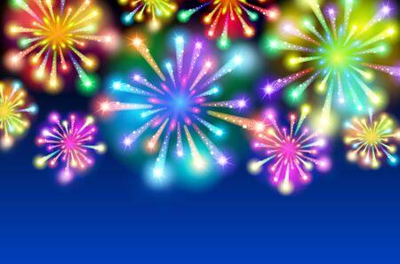 Large Fireworks Display - vector illustration background. art Illustration