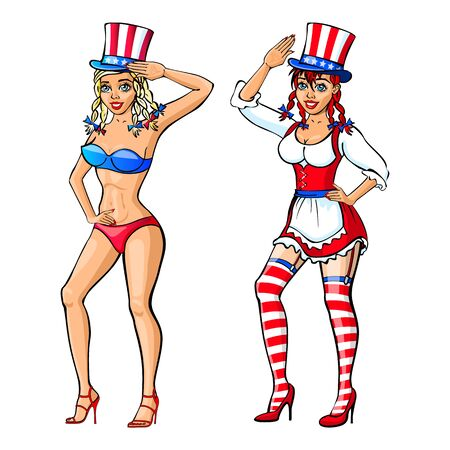 Pretty Girl Wearing Red, White and Blue Bikini Costume for the Fourth Of July vector