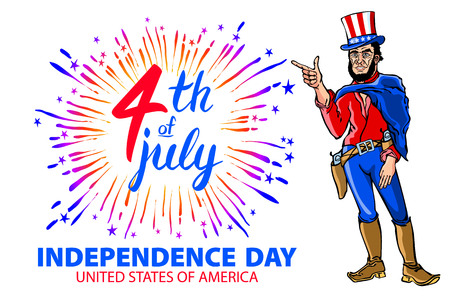 illustration of a men celebrating Independence Day Vector Poster. 4th of July Lettering. American Red on Blue Background with Stars burst. firework art