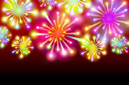 Brightly Colorful Fireworks on twilight background vector art