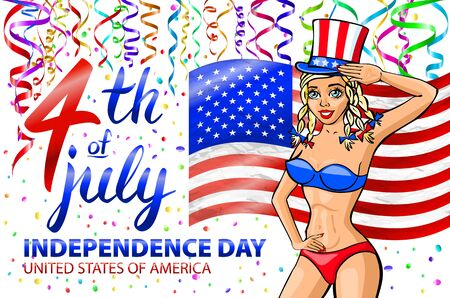 illustration of a girl celebrating Independence Day Vector Poster. 4th of July Lettering. American Red Flag on Blue Background. confetti. art