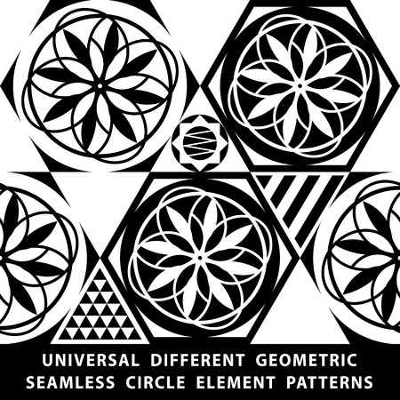 Universal different vector seamless patterns. tiling. Endless texture can be used for wallpaper, pattern fills, web page background,surface textures. Set of monochrome geometric ornaments. art