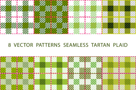 navy blue background: Set of 8 abstract stylish geometrical seamless patterns with celtic ornament of Lime green and white shades VECTOR TARTAN PLAID art