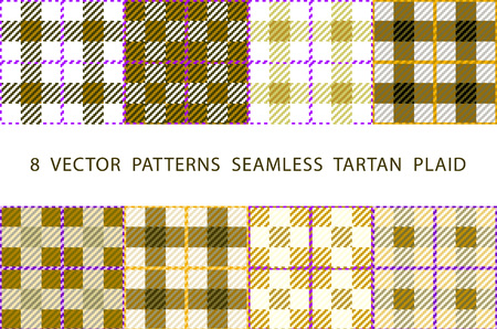 lumberjack shirt: Set of 8 abstract stylish geometrical seamless patterns with celtic ornament of beige, black, and white shades VECTOR TARTAN PLAID art