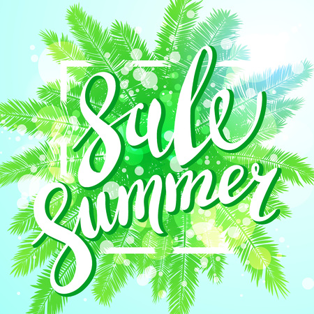 beach sunset: Sunset on the beach Summer sale background with green palm vector banner art Illustration