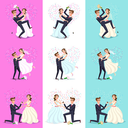 set. Happy Couple celebrating marriage, dancing, kissing, hugging, holding each other in arms, cut cake, riding bike and horse, jumping after ceremony Just married, newlyweds, bride and groom. vector art 向量圖像