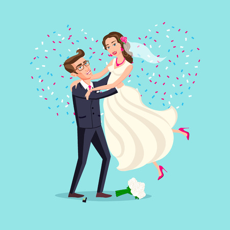 after: Just married funny couple, bride and groom jumping from after wedding ceremony pink background heart vector art Illustration