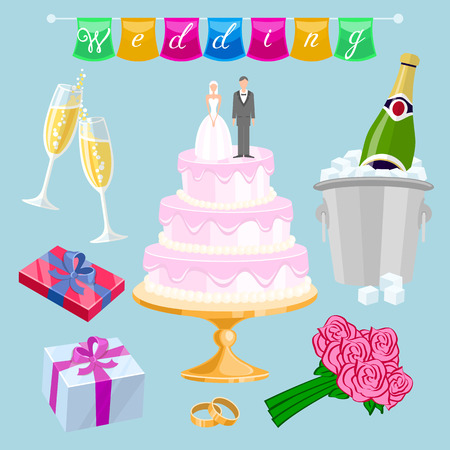 set Wedding cake with couple vector. Newlyweds, glasses, champagne, gifts, roses, flowers, rings, inscription, flags, streaming art