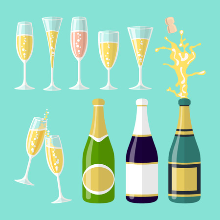 vector illustrations of several champagne flat celebration. Open bottle. A set of glasses of wine of different shapes art Çizim