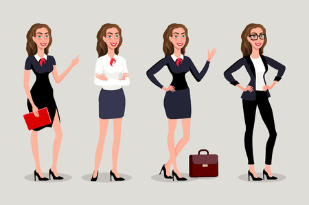 Vector illustration isolatede. Elegant pretty business woman in formal clothes. Base wardrobe, feminine corporate dress code. Collection of full length portraits of business woman. art Illustration