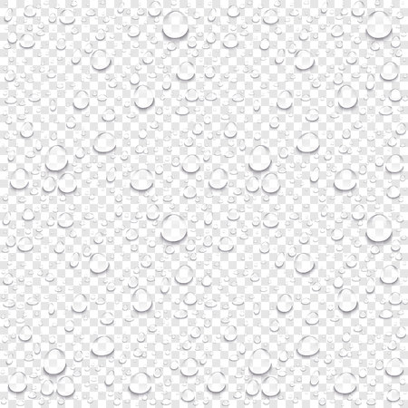 Realistic vector water drops transparent background. Clean drop condensation illustration art