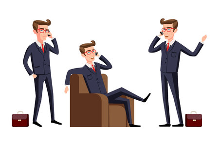 Businessman in a office workplace is sitting on a table and talking on the cellphone. Vector illustration, phone art. Illustration