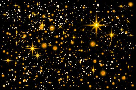 espace. Modèle de carte de Noël, nouvel an avec abstrait étoile dorée en forme de confettis. art cosmos