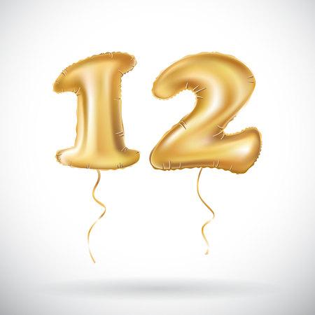 12 golden anniversary balloon. Vettoriali