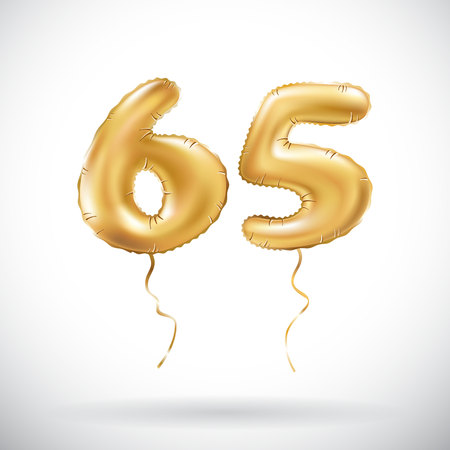 vector Golden number 65 sixty five metallic balloon. Party decoration golden balloons. Anniversary sign for happy holiday, celebration, birthday, carnival, new year. art Illustration