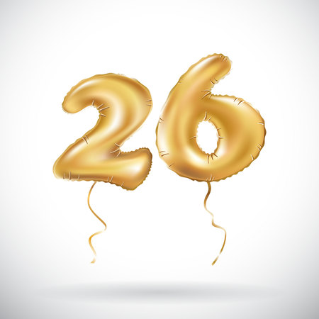 vector Golden number 26 twenty six metallic balloon. Party decoration golden balloons. Anniversary sign for happy holiday, celebration, birthday, carnival, new year. art Ilustração