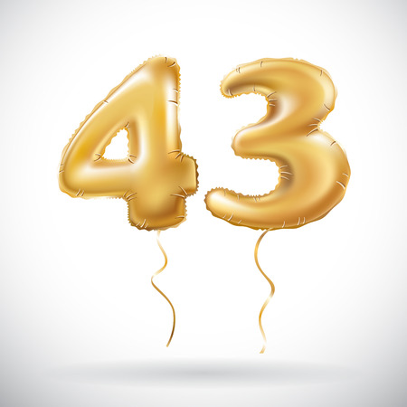 vector Golden 43 number forty three metallic balloon. Party decoration golden balloons. Anniversary sign for happy holiday, celebration, birthday, carnival, new year. art Illustration