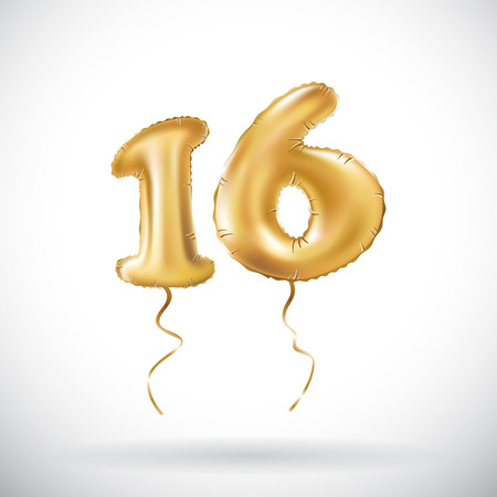 vector Golden number 16 sixteen metallic balloon. Party decoration golden balloons. Anniversary sign for happy holiday, celebration, birthday, carnival, new year. art