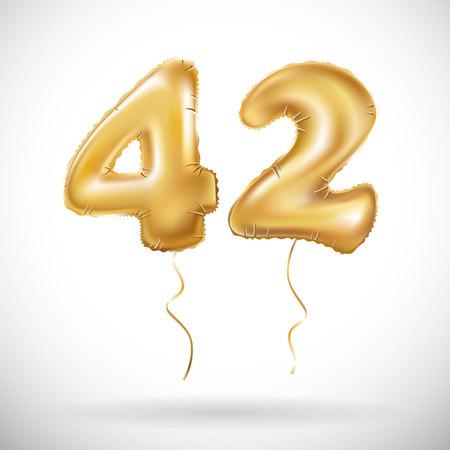벡터 골든 42 번호 42 금속 풍선입니다. 파티 장식 황금 풍선입니다. 행복 한 휴일, 축 하, 생일, 카니발, 새 해 기념일 로그인하십시오. 미술