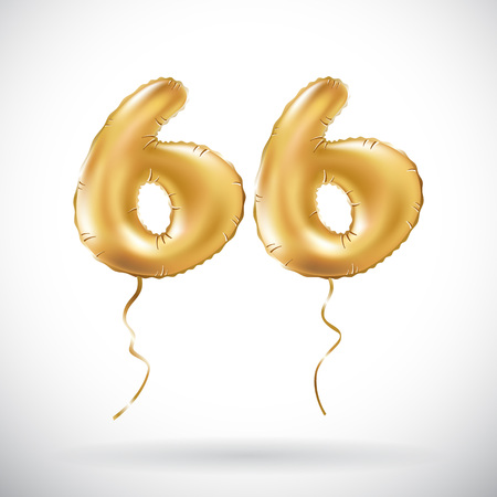 vector Golden number 66 sixty six metallic balloon. Party decoration golden balloons. Anniversary sign for happy holiday, celebration, birthday, carnival, new year. art