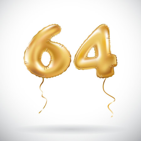 event party: vector Golden number 64 sixty four metallic balloon. Party decoration golden balloons. Anniversary sign for happy holiday, celebration, birthday, carnival, new year. art