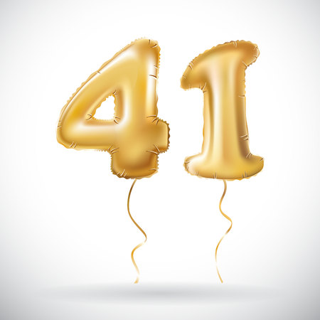 vector Golden 41 number forty one metallic balloon. Party decoration golden balloons. Anniversary sign for happy holiday, celebration, birthday, carnival, new year. art