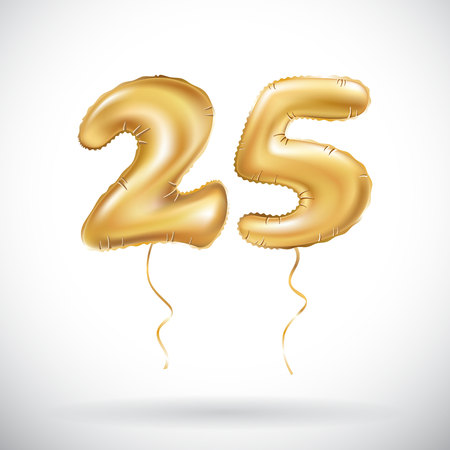 vector Golden number 25 twenty five metallic balloon. Party decoration golden balloons. Anniversary sign for happy holiday, celebration, birthday, carnival, new year. art Vettoriali