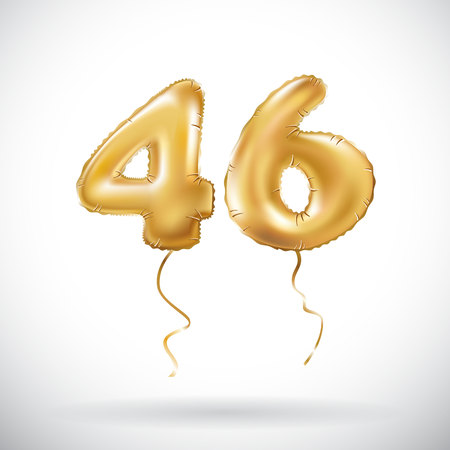 vector Golden number 46 forty six metallic balloon. Party decoration golden balloons. Anniversary sign for happy holiday, celebration, birthday, carnival, new year. art Illustration