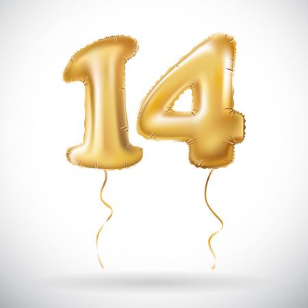 Vettore Golden 14 numero quattordici palloncini metallici. Palloncini d'oro decorazione del partito. Segno di anniversario per una vacanza felice, celebrazione, compleanno, carnevale, nuovo anno. arte Archivio Fotografico - 83739265