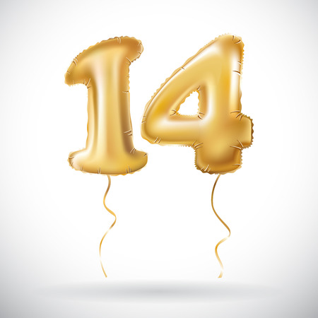 vector Golden 14 number fourteen metallic balloon. Party decoration golden balloons. Anniversary sign for happy holiday, celebration, birthday, carnival, new year. art