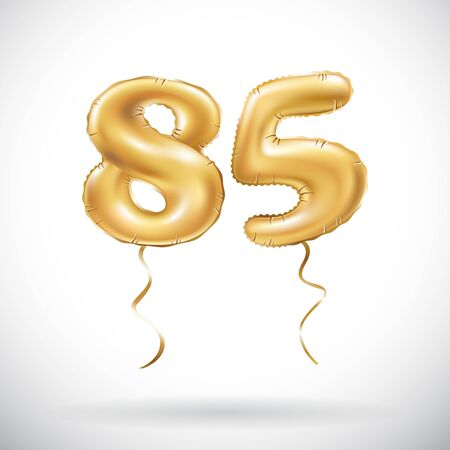 vector Golden number 85 eighty five metallic balloon. Party decoration golden balloons. Anniversary sign for happy holiday, celebration, birthday, carnival, new year. art