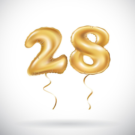 vector Golden number 28 twenty eight metallic balloon. Party decoration golden balloons. Anniversary sign for happy holiday, celebration, birthday, carnival, new year. art